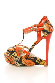 Orange Faux Leather Snake Skin Wedges