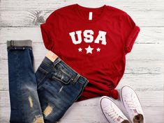 20af9a31b7e Items similar to USA Adult Shirt - USA unisex T-shirt - Patriotic Shirt -  USA Shirt - 4th of july - Merica - Patriotic - Red White and Blue - Fourth  of July ...