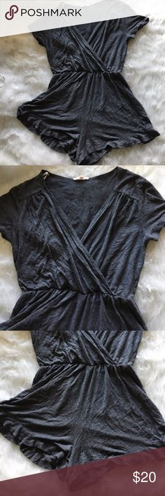 Gray Tee Style Romper Waist can stretch up to 40 inch waist. See photos for other measurements . Short sleeve v cut romper with ruffle shorts Pants Jumpsuits & Rompers