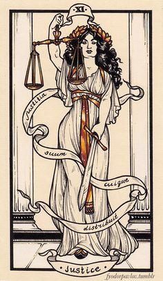 """Tarot cards by Fyodor Pavlov"" Justice Tarot, Tarot Card Tattoo, Lady Justice, Tarot Major Arcana, Art Graphique, Tarot Decks, Tarot Cards, Tarot Card Art, Graphic"