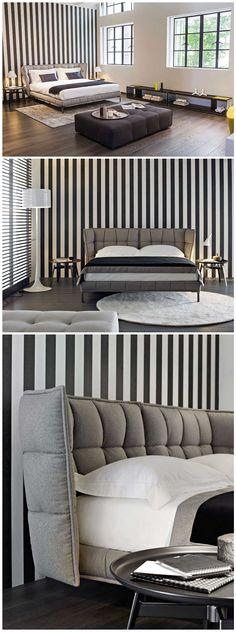 Italian Bedroom Design Modern Fabric Bed-Light On Furniture