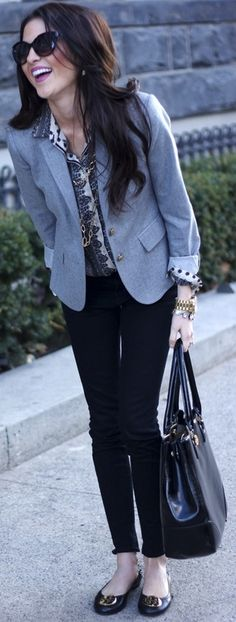 I own this blazer--like the shirt she paired with it