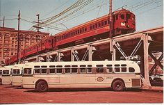 Back: Los Angeles MTA Pacific Electric red cars and buses at the and Main St. Station in Station shed and viaduct have long since been razed. Photo by Leo Caloia I asked about the Pacific Electric train--information is in comments. Cities In Los Angeles, Classic Gmc, Europe Train, San Bernardino County, Rail Car, Light Rail, Bus Station, Train Tracks, Public Transport
