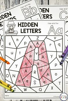 Hidden Alphabet Letters! Kids love a great mystery so pull on your detective hats and dive into a batch of hidden letter sheets that work on upper and lowercase pairs, letter recognition and comparing all at once! Great for alphabet review or literacy centers with kindergarten and preschool kids! #literacycenters #alphabet #playdoughtoplato