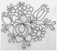 pattern for Bauernmalerei Mexican Embroidery, Floral Embroidery Patterns, Hungarian Embroidery, Folk Embroidery, Learn Embroidery, Embroidery Designs, Chain Stitch Embroidery, Embroidery Stitches, Rosemaling Pattern