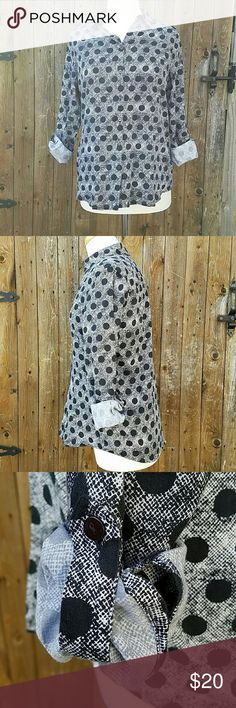 Foxcroft Shaped Black & White Polka Dot Career Top Shaped Black & White Polka Dots Button Down Roll Tab Convertible Sleeves Bust is 40 inches Sleeve Length is 17 inches while rolled Sleeve length is 24 inches unrolled Length of top is 27 inches 100% Cotton Foxcroft Tops Button Down Shirts