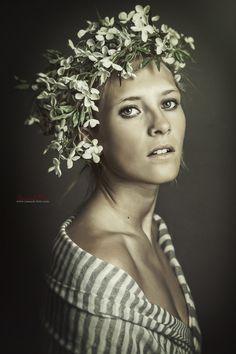 Marina by yannick faure on Fine Art Photography, Fashion Photography, Floral Headpiece, Saint Tropez, Professional Photographer, Portrait, Headshot Photography, Portrait Paintings, High Fashion Photography
