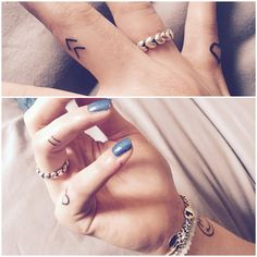"""My little additions I got today. """"Create your own Reality"""" Viking symbol // Equality symbol // Heart outline on little finger. #equality #heart #fingertattoo"""