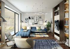 Modrý gauč, modrá sedací souprava, moderní obývací pokoj. návrhy a realizace. AJ floor lamp Jacobsen scandi blue living room Studios, Gallery Wall, Home Decor, Decoration Home, Room Decor, Home Interior Design, Home Decoration, Interior Design
