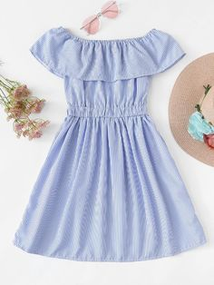 Off The Shoulder Striped Ruffle DressFor Women-romwe Cute Summer Outfits, Pretty Outfits, Cool Outfits, Dress Outfits, Casual Dresses, Casual Outfits, Teen Fashion Outfits, Fashion Dresses, Lovely Dresses