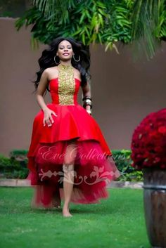 dress cocktail dress on sale at reasonable prices, buy Tanzanian Designer Red Hi-Lo Prom Dresses 2017 Gold Beaded High Neck Plus Size Ankara Ghana Women Dress Party Evening Gowns from mobile site on Aliexpress Now! African Print Dresses, African Dresses For Women, African Wear, African Attire, African Women, African Prints, African Style, African Outfits, African Lace