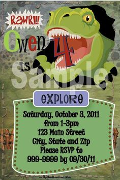 Dinosaur Party invitations and favors