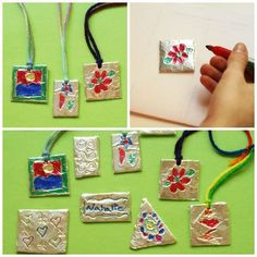 Here's a craft project for the big kids – creating shiny, embossed foil pendants with a few simple materials. Making these requires a gentle touch, but they are simple and addicting to make.