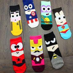 8431f4d2267 Avengers Infinity War cartoon iron man abstract socks Marvel Batman Captain  America cosplay funny Men s Unisex