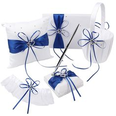 Amazon.com: OurWarm Wedding Guest Book + Pen Set + Flower Basket + Ring Pillow + Garter, White Cover, Double Heart Rhinestone Decor Royal Blue / Deep Blue Ribbon Bowknot Elegant Wedding Ceremony Party Favor: Kitchen & Dining
