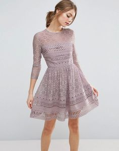 ASOS PREMIUM Lace Skater Dress - Purple Asos Premium bbd329561449