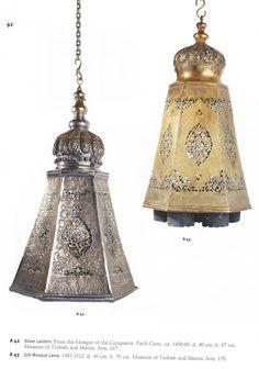 Silver Lantern ca. 1450-60, Gilt Mosque Lamp. 1481-1512.  Museum of Turkish & Islamic Arts