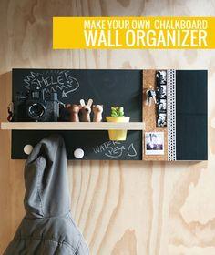 Roundup: 10 DIY Desk Calendars, Wall Calendars, and Memo Boards - Dıy Desk vintage Ideen Diy Wand, Diy Tableau Noir, Mur Diy, Memo Boards, Chalk Board, Chalk Wall, Bulletin Boards, Do It Yourself Inspiration, Home Staging Tips