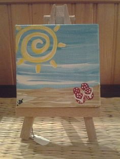 Canvas Painting Ideas for Beginners | Mini Painting Swirly Sun and Red Flip Flops by KeyLargoCoconuts, $15 ...