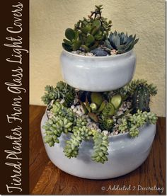 Create a tiered tabletop planter using old dome light covers. -- Two-Tiered Tabletop Planter From Outdated Glass Light Covers: Addicted 2 Decorating. Diy Planters, Garden Planters, Planting Succulents, Garden Art, Potted Garden, Growing Succulents, Succulent Planters, Garden Design, Glass Light Covers