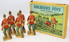 Vintage Antique 1920 Soldiers Five Toy Shooting Gallery Game by Milton Bradley   eBay