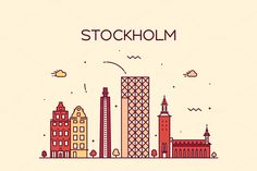 Stockholm skyline (Sweden) by grop on @creativemarket