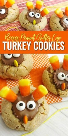 Turkey Peanut Butter Cup Cookies Recipe is perfect for November from playdate treats to holiday treat to serve your guest and all things in between | #turkey #cookies #peanutbutter #holiday #baking #cookieturkeys #Thanksgiving #dessert Chocolate Chip Cookies, Peanut Butter Cup Cookies, Chocolate Cookie Recipes, Easy Cookie Recipes, Sweets Recipes, Drink Recipes, Thanksgiving Cookies, Thanksgiving Recipes, Holiday Recipes