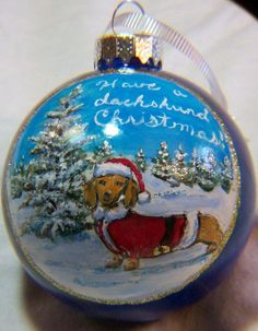 dachshund ornaments | ... Dachshund in a Santa Suit, Hand Painted Glass Christmas Ornament 3 1/8