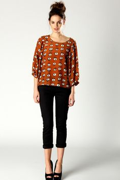 Padlock print blouse (and such a cute outfit!).