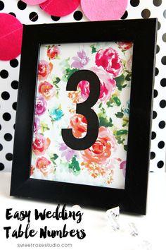 Easy Wedding Table Numbers at Sweet Rose Studio