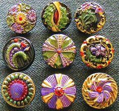 Lavender Garden Antique Czech Glass Buttons.