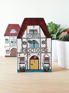 White Mansion Wooden Wall Decor Hand cut and hand painted