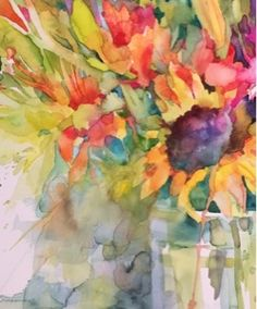 Detail of a new painting fresh off the easel...dipping back into the floral pool and I am enjoying using some more water for looser washes a...