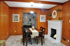 Painting over paneling: What I like: Cheap compared to sheetrock or new paneling, updates quickly, still able to trim with tin like wainscoating
