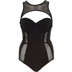 Black Pacha fishnet insert cut out swimsuit ($54) ❤ liked on Polyvore featuring swimwear, one-piece swimsuits, swimsuits, swim, intimates, high neck swim suits, swim suits, cut out one piece swimsuits, tall swimsuits and cut out swimsuit