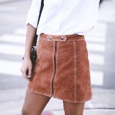 Topshop Suede A Line Skirt   Happily Grey http://FashionCognoscente.blogspot.com