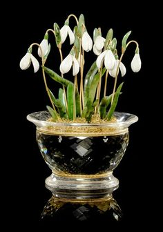 """An Opal and Rock Crystal """"Snowdrops"""" Flower Study, Manfred Wild,  Idar-Oberstein, Germany. Height: 19.10 cm. Estimate $ 18,000-22,000."""