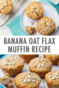 Rethink how you think about muffins with this Super Healthy Banana Oat Flax Muffin recipe. Made with only real ingredients, these muffins will be a total gamechanger for busy mornings. P.S. these are definitely kid-friendly, so make a few batches that the whole fam can enjoy all week long. Healthy Banana Recipes, Healthy Banana Muffins, Banana Dessert Recipes, Easy Banana Bread, Healthy Sweets, Healthy Baking, Healthy Snacks, Ripe Banana Recipe, Banana Oats
