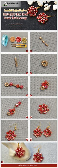 Pandahall DIY Idea on Electroplate Glass Beads Flower Stitch Earrings Stitch gold seed beads and red electroplate glass beads into flower shape and add earring hooks, and finally you will get a pair of exquisite earrings!