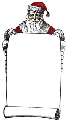 Free Vintage Clip Art - Victorian Santa Sign Holder - The Graphics Fairy