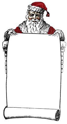 Free Vintage Clip Art - Victorian Santa Sign Holder - The Graphics Fairy