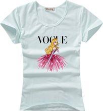 5 colores Casual manga corta de impresión mujeres camiseta de la marca 2016 Vogue algodón del o-cuello camiseta Tops camisa camisetas ropa T002(China (Mainland))
