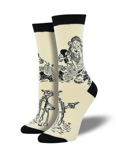 Wizard of Oz socks keep fantasy alive. Walk down the yellow brick road in soft, bamboo socks. These book socks will put a little joy in your step. Book Socks, Women's Socks, Ruby Red Slippers, Bamboo Socks, Funny Socks, Crazy Socks, Black And White Drawing, Colorful Socks, Wizard Of Oz