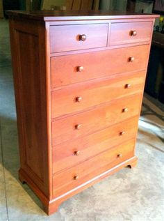Shaker Cherry Chest of Drawers by Colonial Furniture Tall Dresser, Dressers, Bedroom Furniture, Furniture Design, Cherry Furniture, Shaker Furniture, Colonial Furniture, Cabinet Makers, Shaker Style