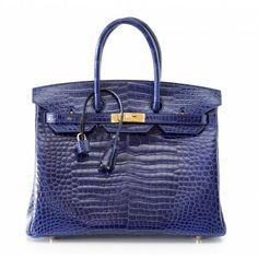 Hermes Sapphire Bleu Porosus Crocodile 35cm Birkin Bag with Gold Hardware