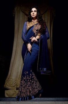 190071 Blue color family Embroidered Sarees, Party Wear Sarees in Bemberg fabric with Machine Embroidery, Thread work with matching unstitched blouse. Saree Designs Party Wear, Saree Blouse Designs, Collection 2017, Saree Collection, Indian Attire, Indian Wear, Indian Style, Indian Dresses, Indian Outfits