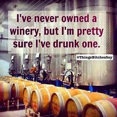 I've never owned a winery but I'm pretty sure I've drunk one. #WineHumor #WineWednesday