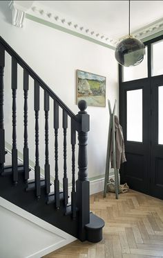 Paint Colour Trends For The New Key Colours To Paint Your House In paint and paper library monochrome. Contemporary hallway design with black stairs and white walls. Black Staircase, Staircase Design, Black Stair Railing, Black And White Hallway, White Walls, Paint And Paper Library, Contemporary Hallway, Victorian Hallway, 1930s Hallway