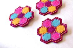 Hexagon Embroidered Brooch by SewSweetStitches on Etsy