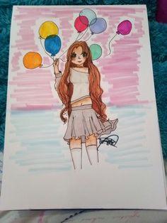 Anime art lonely balloons sunset balloon